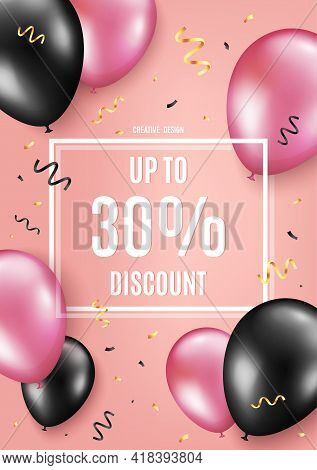 Up To 30 Percent Discount. Balloon Celebrate Background. Sale Offer Price Sign. Special Offer Symbol