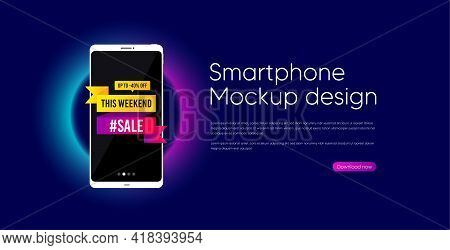 This Weekend Sale 40 Percent Off Banner. Mobile Phone Vector Mockup. Discount Sticker Shape. Hot Off