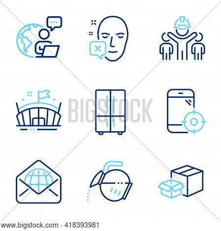 Business Icons Set. Included Icon As Arena, Face Declined, Coffee Pot Signs. Refrigerator, Seo Phone