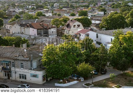 Bird Eyes View On Streets And Buildings Of City Of Yevpatoria On The Peninsula Crimea