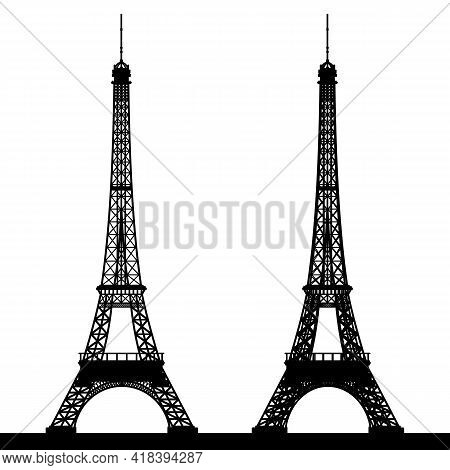 Silhouette Of The Eiffel Tower.  Black Silhouette Of The Eiffel Tower On A White Background. Vector