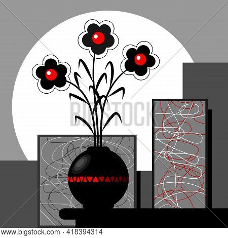 Stylized Black And Red Flowers In A Vase.  Decorative Still Life With Red Black Stylized Flowers In