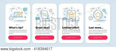 Set Of Finance Icons, Such As Loan Percent, Sales Diagram, Vip Ticket Symbols. Mobile App Mockup Ban