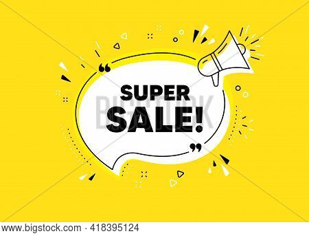 Super Sale. Megaphone Yellow Vector Banner. Special Offer Price Sign. Advertising Discounts Symbol.