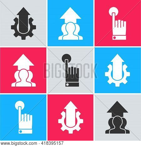Set Arrow Growth Gear Business, Growth Chart And Progress In People Crowd And Hand Touch And Tap Ges