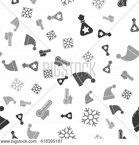 Set Santa Claus Bag Gift, Snowflake, Christmas Santa Claus Hat And Meteorology Thermometer Measuring