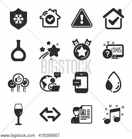 Set Of Business Icons, Such As Like, Clean Skin, Online Quiz Symbols. Leaf Dew, Smartphone Message,
