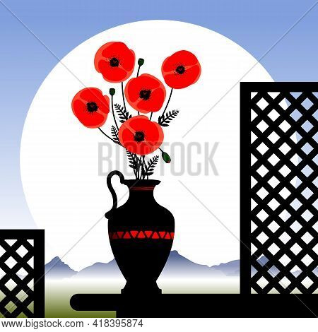Red Poppy Flowers In A Vase.  Stylized Red Poppy Flowers In A Vase. Vector Illustration.