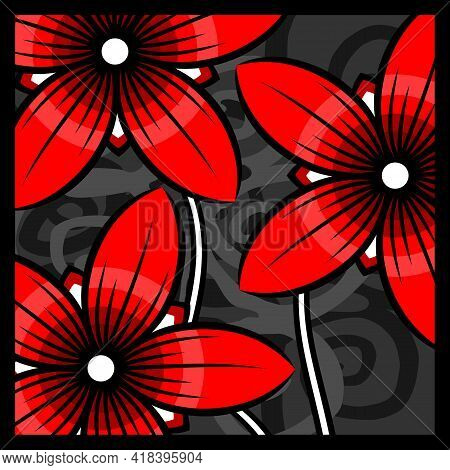 Composition With Stylized Red Flowers. Composition With Stylized Red Flowers On An Abstract Gray Bac