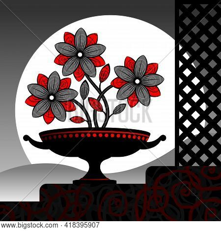 Stylized Red Flowers In A Vase.  Stylized Red Flowers In A Black Vase. Vector Illustration.