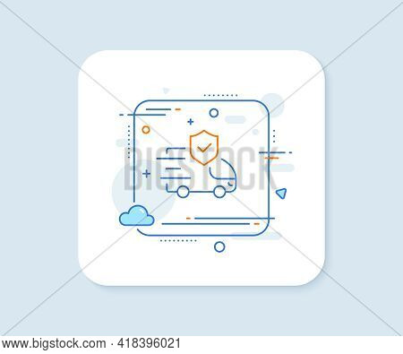 Transport Insurance Line Icon. Abstract Square Vector Button. Car Risk Coverage Sign. Delivery Prote