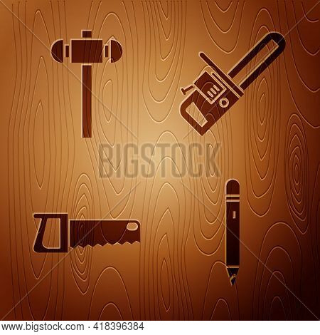 Set Pencil With Eraser, Sledgehammer, Hand Saw And Chainsaw On Wooden Background. Vector