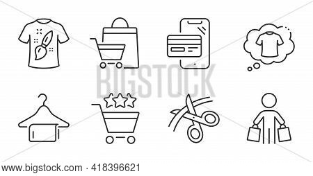 T-shirt Design, Scissors And Buyer Line Icons Set. T-shirt, Shopping Rating And Sale Bags Signs. Onl