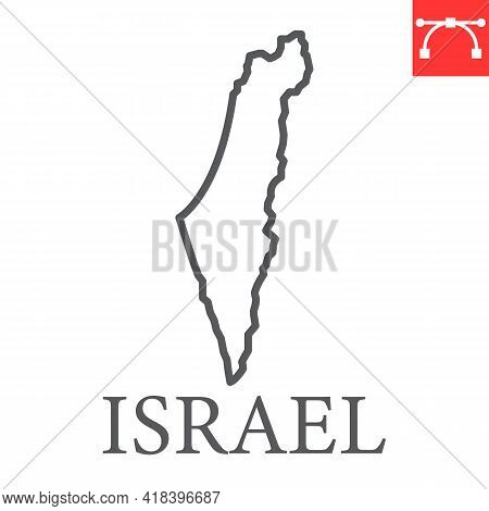 Map Of Israel Line Icon, Country And Travel, Israel Map Vector Icon, Vector Graphics, Editable Strok