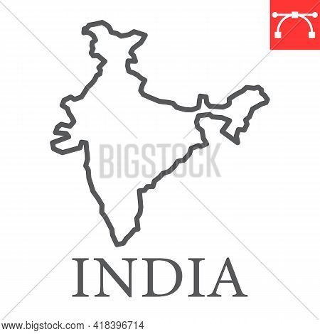 Map Of India Line Icon, Country And Travel, India Map Vector Icon, Vector Graphics, Editable Stroke