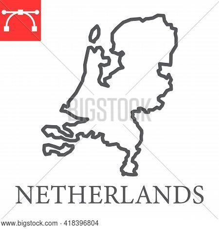 Map Of Netherlands Line Icon, Country And Netherland, Netherlands Map Vector Icon, Vector Graphics,