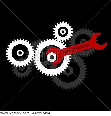 Cogwheel Gear Mechanism And Wrench.  Wrench With Cogwheel Gear Mechanism Symbol. A Wrench On A Nut.