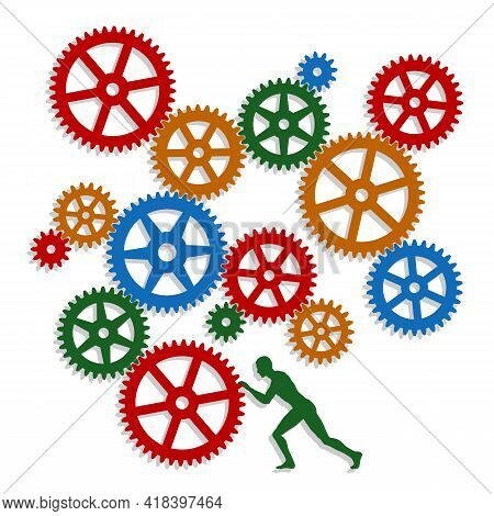 Man And Colorful Gear Mechanism. The Man Sets The Gear Mechanism In Motion. Cogwheel Image. Vector I