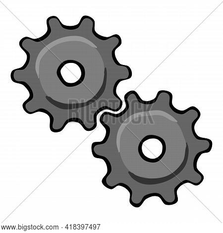 Drawn Gear Mechanism On A White Background.  Sketch Of A Gear Mechanism On A White Background. Vecto