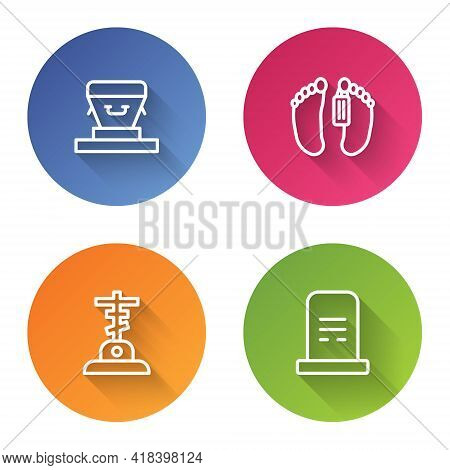 Set Line Coffin, Dead Body, Grave With Cross And Tombstone. Color Circle Button. Vector