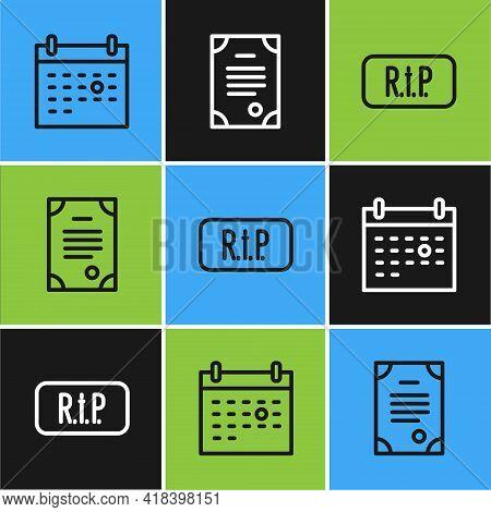 Set Line Calendar Death, Speech Bubble Rip And Death Certificate Icon. Vector