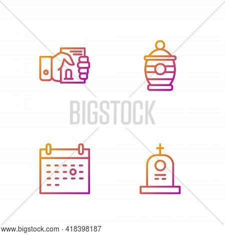 Set Line Grave With Tombstone, Calendar Death, Death Certificate In Hand And Funeral Urn. Gradient C