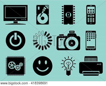 Set Of Black Flat Electronics Icons. Vector Illustration.