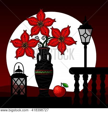 Stylized Still Life With Flowers In A Vase And An Apple. Vector Illustration.