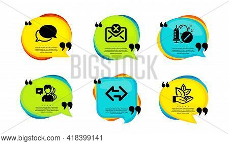 Messenger, Medical Drugs And Reject Mail Icons Simple Set. Speech Bubble With Quotes. People, Sync A