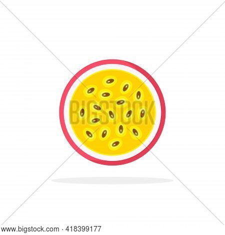Half Of Passion Fruit Icon. Isolated Object. Passion Fruit Logo. Vector Illustration.