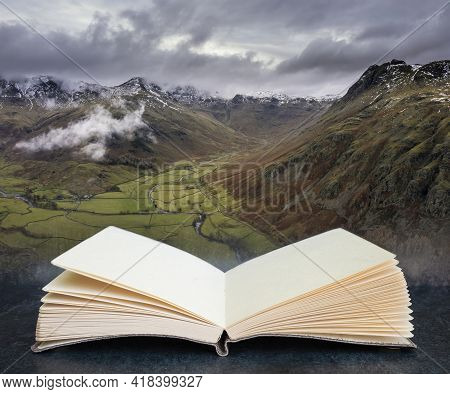 Epic Flying Drone Landscape Image Of Langdale Pikes And Valley In Winter In Pages Of Imaginary Readi