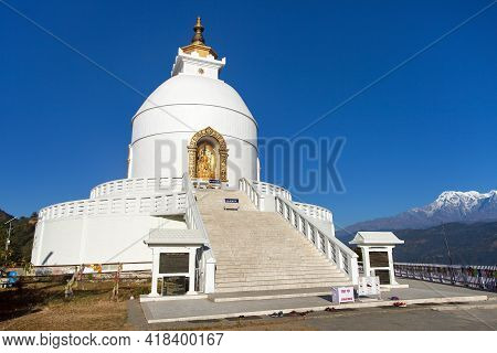 World Peace Stupa, White Stupa Near Pokhara, Annapurna Area, Nepal
