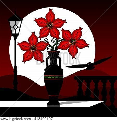 Stylized Still Life With Red Flowers Against The Background Of A Sunset Landscape. Vector Illustrati