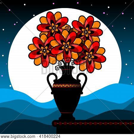 Stylized Still Life With Red Flowers. Bouquet In A Vase Against The Background Of The Night Sky. Vec
