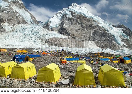 View From Mount Everest Base Camp, Yellow Tents And Prayer Flags, Trek To Everest Base Camp, Nepalhi