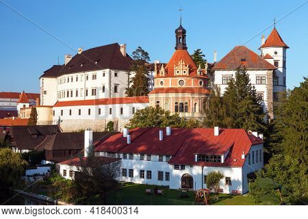 Castle Chateau Palace And The Town Of Jindrichuv Hradec Afternoon Or Early Evening View, South Bohem