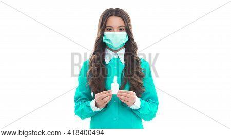 Girl In Mask Hold Nasal Drops. Child Presenting Nasal Spray. Runny Nose Coronavirus Symptom. Flu Sar