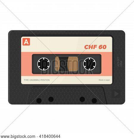 Retro Style, Realistic Audio Cassettes Front View With Label. Empty Labels Template Audio Cassette.