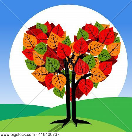 Autumn Tree With Heart Shaped. Stylized Tree With Heart Shaped. Vector Illustration.