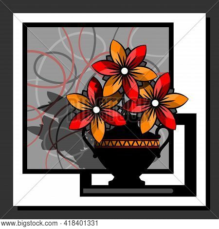 Stylized Flowers In A Vase On The Background Of An Abstract Composition. Design Wall Art Posters. Ve
