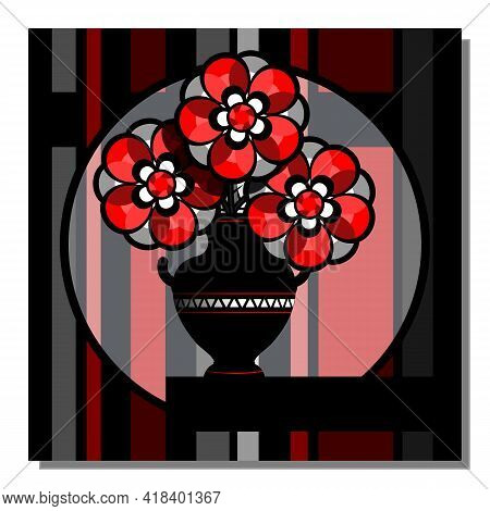 Stylized Still Life With Red Flowers In A Vase. Abstract Wall Art, Poster Design. Vector Illustratio