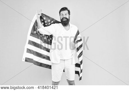 Got Green Card. American Citizen Celebrate Independence Day. Happy Hipster Hold Usa Flag. Citizenshi