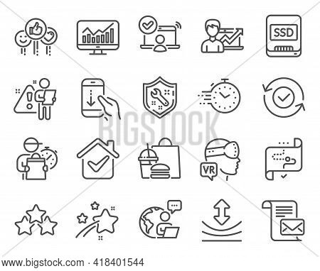 Technology Icons Set. Included Icon As Success Business, Augmented Reality, Target Path Signs. Spann