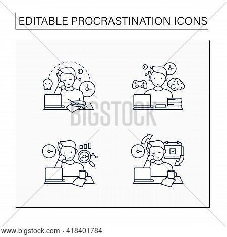 Procrastination Line Icons Set. Laziness, Brain Procrastination, Statistics, Chronic. Overwhelmed Co
