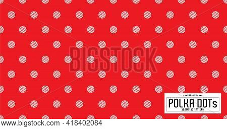 Dots Pattern Vector. Polka Dot Background. Red And White Polka Dots Abstract Background. Dot Pattern