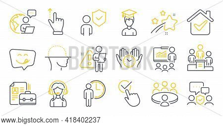 Set Of People Icons, Such As Support, Security Agency, Business Podium Symbols. Meeting, Security, V
