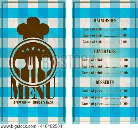 Restaurant Menu Design. Food And Drinks Menu Retro Style Blue Tablecloth Background. Vector Illustra