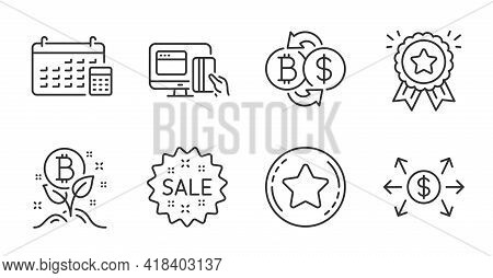 Bitcoin Project, Loyalty Award And Dollar Exchange Line Icons Set. Bitcoin Exchange, Calendar And On