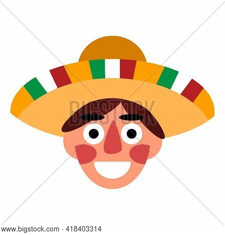 Smiling Mexican Head With Sombrero Cartoon Flat Stock Vector Illustration. A Happy Young Man With A