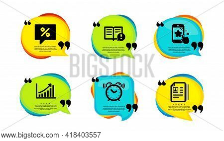 Graph Chart, Alarm Clock And Discount Message Icons Simple Set. Speech Bubble With Quotes. Facts, St
